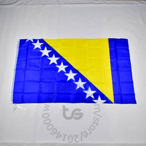 Bosnie-Herzégovine / Bosnie-Herzégovine drapeau national Envoi gratuit 3x5 FT / 90 * 150cm Hanging Drapeau national Bosnie Accueil Décoration bannière drapeau
