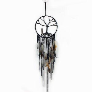 Handmade Black Tree of Life Dream Catcher Indoor Home Decorations Handmade Jewelry Tassel Crystal Pendant Ornaments
