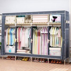 """HHAiNi Enorme 82 """"Organizador de almacenamiento de armario de madera portátil Armario de ropa Estante con estantes, 4 barras para colgar, 1 caja de almacenamiento gratis"""