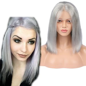 Silber Grau Farbe Bob Haarschnitt Lace Front Perücke mit Baby Jungfrau 9A glattes Haar grau Farbe Silky Straight Style Glueless volle Spitze Perücke