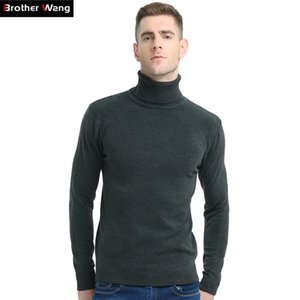 Brother Wang 2018 New Autumn Winter Brand Sweater Men's Turtleneck Slim Pullover Solid Color Knitted Sweater Men