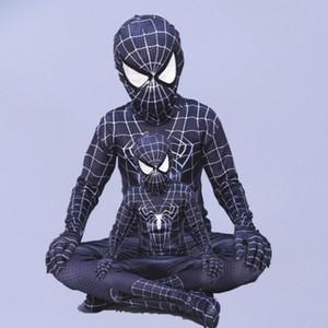 코스프레 스판덱스 zentai 악마 흑인 스파이더 맨 의상 아이들을위한 할로윈 의상 어린이 슈퍼 히어로 코스프레 전체 bodysuit 정의