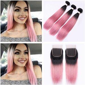 T1B / Pink Ombre 4x4 Lace closure con 3 paquetes recto peruano Virgen cabello humano Pink Ombre cabello humano teje extensiones con cierre