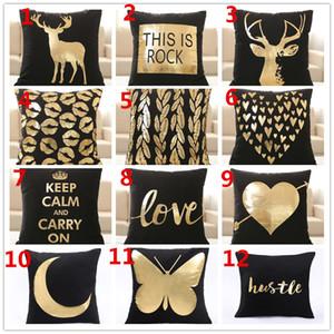 Cuscino Nuovo Design Natale coperture Bronzing federa Soft Black Gettare Federe Xmas Divano seggiolino auto Home Decor 12 disegni