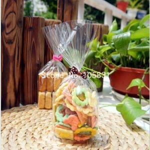 Venta al por mayor - Aceptar alta calidad personalizada 15pcs / lot 12x25cm Envasado de galletas Bolsas de plástico transparentes básicas para el paquete de hornear galletas