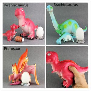 Nette weiche Plastikdinosaurierspielwaren stellten Mutter- und Babydinosauriermodelle 15-17cm 3 Artspielwaren Kindergeschenk-Tyrannosaurus Triceratops-Tiermodell ein