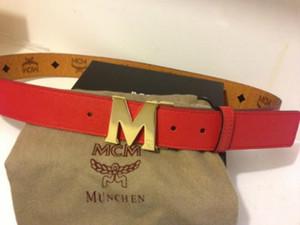Big M Big hebilla cinturones Top Quality Togo Epsom REVERSIBLE Hombres cinturón Brown Red Reversible hombres correa con caja