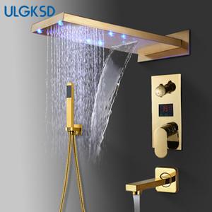 ULGKSD Bad Dusche Wasserhahn LED Golden Messing Wasserfall Regen Duschkopf Wandhalterung Heißes und Kaltes Wasser Mischbatterie