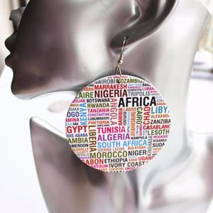 5 paia all'ingrosso prezzo africano paese nome orecchini in legno rotondi goccia per le donne del partito