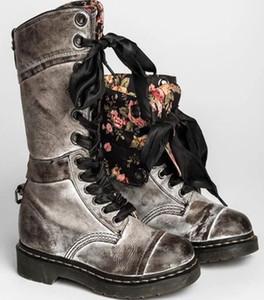 Женщины Повседневная обувь Zip Пряжка Military Combat кредитных карт Карманный пинетки Узелок черные ботинки мотоцикла ботинки большого размера