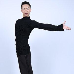 Moda para adultos Latin Performance Dance Costume Hombres Tops de manga larga Chacha Female Practice Ropa Tango 3 colores Ropa DWY625