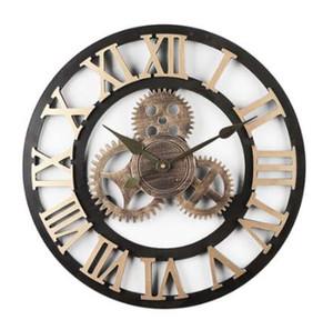 Lovely Mute Orologio da parete Vintage Gear Silenzioso Orologi digitali Soggiorno camera da letto regalo Decorazione della casa @LS JU11