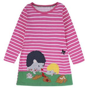 Vestidos de las muchachas túnica Unicornio apliques Robe Fille Princesse manga larga Jersey vestidos de los niños para niñas disfraces vestido de los niños
