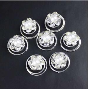 12 UNID Horquillas de la boda de novia de cristal de imitación de la perla Rhinestone flor de cristal Remolino Twist pinzas de pelo Spin Pins Accesorios para el cabello