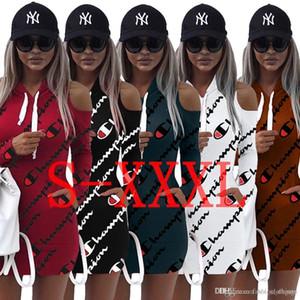 3XL Lettera Stampa Felpe con cappuccio Dress Summer Autumn Dress 2018 Casual Casual Off spalla Mini fasciatura Top Sportwear Abbigliamento donna
