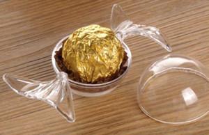 600 unids Cajas de Almacenamiento de Contenedores de Plástico caliente Encantador Forma de Caramelo Chocolate Redondo Cajas de Dulces Cumpleaños de Boda Decoración de la ducha del bebé