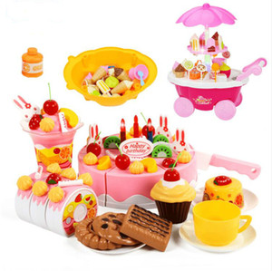 Brand Toys DIY Toys 38-75Pcs Pretend Play Cutting Birthday Cake Food Toy Kitchen para niños Plastic Play Food Tea Set
