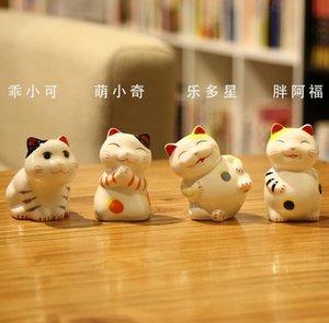 Niedliches Mini 4 Stück Keramik Maneki Neko Home Decor Handwerk Zimmer Dekoration Porzellan Tier Figur Lucky Cat Keramik Ornamente Geschenk