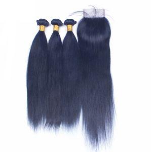 Nuevo producto Suave paquetes de trama de cabello recto con cierre de encaje 4x4 Color azul El cabello humano teje con cierre superior 4pcs / lote