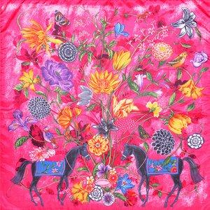 Le donne a cavallo Stampa Poliestere sciarpa femminile del sacchetto blu del collo Bandana Scialle Foulard Femme Primavera Piazza Sciarpe di seta 90 * 90