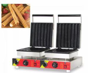 110v 220v gaufrier bâton fabricant double-tête électrique churros machine commerciale churros à gaufres faisant la machine pour vente LLFA