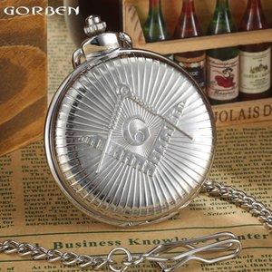 Vintage GORBEN Izle Masonik Ücretsiz-Mason Lüks Gümüş Kuvars Pocket Watch Steampunk erkek Cep İzle Fob Zincir Kolye