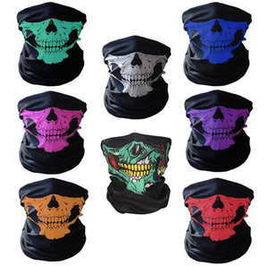 Bicicleta Ski Skull Half Face Mask Fantasma Bufanda Magic Headscarf Multi Use Warmer Snowboard Cap Máscaras de Ciclismo Regalo de Halloween Accesorios de Cosplay