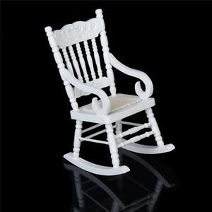 1/12 em miniatura casa de bonecas de madeira cadeira de balanço modelo branco realmente bonito