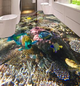 Piso 3D Papel pintado impermeable para el baño Fondo marino peces tropicales peces 3D Pintura del suelo Papel tapiz autoadhesivo