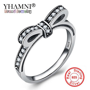 YHAMNI New Fashion Design Original 925 Sterling Silver Bow Rings For Women Lovely Bowknot CZ Diamond Wedding Rings Jewelry RPT003