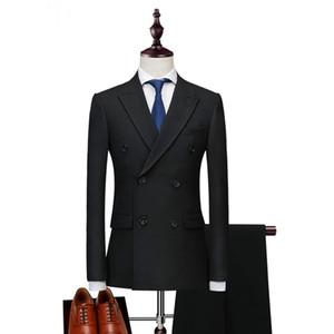 2018 남성 정장 블랙 더블 브레스트 비즈니스 이브닝 드레스 웨딩 신랑 신랑 턱시도 2 조각 사용자 정의 슬림 맞춤 정장 재킷 파티 최고의 남자