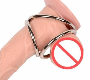 Tiempo de retardo Cock Ring Metal bola de acero inoxidable Stretcher Pene anillo masculino Prolong Cockring Metal Scrotum juguetes eróticos productos del sexo para los hombres