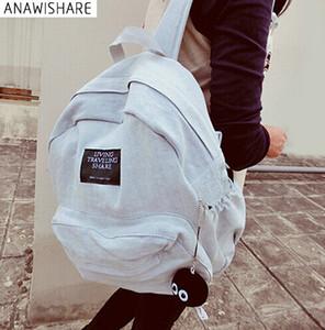 Borse ANAWISHARE donne zaini denim della scuola per gli adolescenti Ragazze di spalla del sacchetto di corsa giornaliera Bagpack Bolsas Mochilas Femininas Y18110202
