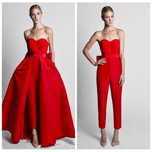 2019 Two Pieces Formal Red Jumpsuits Vestidos de noche con falda desmontable Sweetheart Prom Vestidos Party Wear Pantalones para mujeres con espalda de arco