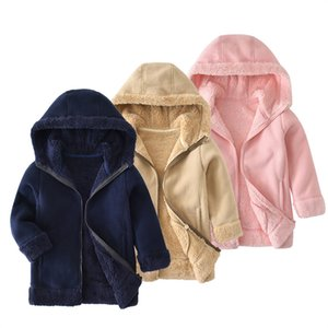 SVELTE para 2-9Y Moda Chlidren Meninos Meninas Unisex De Pele Grossa de Lã Com Capuz Casaco Blusão Crianças Camisolas Casuais Outono Inverno