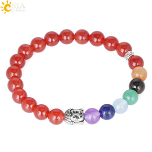 Csja Elastic Tibetan Buddhist Prayer Beads Buddha Mala Rosary Natural Red Agate Stone Beaded Charm Bracelet Bangle Jeweler E693