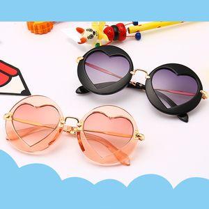 Meninos Meninas Crianças Óculos De Sol Moldura De Metal Multicor Revestimento De Marca Designer De Moda Meninas Crianças Em Forma De Coração Óculos