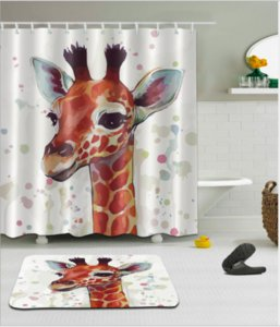 Multifunktionale Aquarell Giraffe Bad Wasserdicht Duschvorhang mit 12 Haken + Aquarell Giraffe Fußmatte Matte Badematten