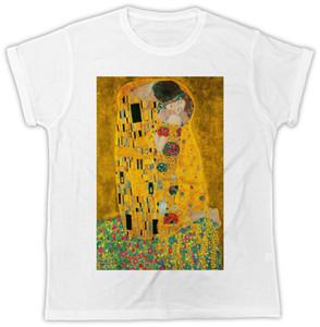 Густав Климт известные картины искусства поцелуи идеальный подарок цветок мужская мужская футболка мужчины Марка печатных 100% хлопок футболка