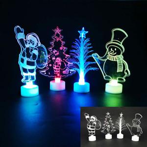 Led Noel Gece Işığı Karikatür Akrilik Lambalar Açık Masa Yanıp sönen Night Lights Noel Baba Noel ağacı Dekorasyon Hediyeler için HH7-1846