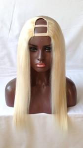 1x3 / 2x4 / 4x4 # 613 Color Lightest Blonde U Part Wigs Brazilian Virgin Hair 130% Densidad Sedosa Recta Upart Peluca de Cabello Humano Para Mujeres Blancas