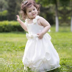 Bonito Spaghhetti Hame Feito Flor Meninas Vestidos De Casamento Branco Arco Strapless Mancha Até O Chão Vestidos De Princesa Do Pescoço Da Jóia Para Casamentos