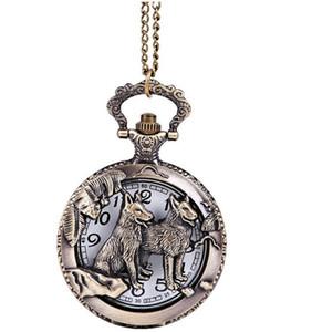 Wholesale 50pcs lot Quartz watches Necklace Chain Bronze Dog pocket watches PW063