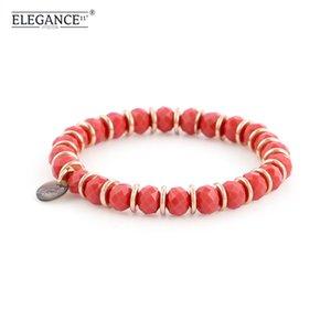 Elegance 8 MM Beaded Bracelet Red Crystal  Charms Bracelets for Women Golden Copper Bohemian Fashion Friendship