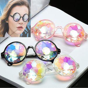 Ретро геометрические Калейдоскоп солнцезащитные очки Мужчины Женщины солнцезащитные очки Радуга линзы очки праздничная вечеринка поставки Рождественский подарок WX9-948