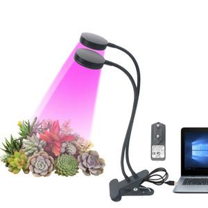 LED 가벼운 USB 식물 성장 램프 클립 360을 가진 이중 헤드 10W EU 미국 UK 힘 플러그를 가진 실내 온실을위한 가동 가능한 거위 목 등 램프