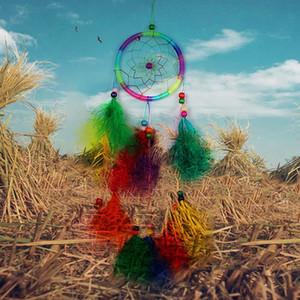 Colorido hecho a mano Dream Catcher Net con plumas Carillones de viento Colgante de pared decoraciones colgantes Dreamcatcher Craft regalo