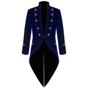 Nuevo diseño Velvet Back Vent Tailcoat Hombres Trajes formales Los hombres de negocios se casan con la fiesta de graduación de la boda (Chaqueta + Pantalones + Corbata + Cinturón) NO; 442