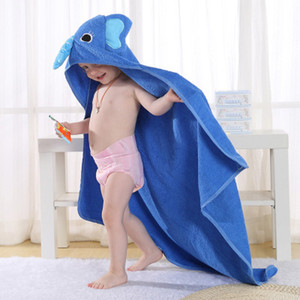 New Children's Animal Cartoon Absorbent Hooded Bathrobe Baby Cotton Towel 0-6T Children Bath Fast Drying Rub Body Robes 90*90cm