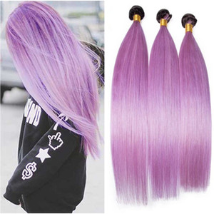 Silky Straight #1B Purple Ombre Peruvian Human Hair Weaves Extensions Dark Root Light Purple Ombre Virgin Hair Bundles Deals 3Pcs Lot
